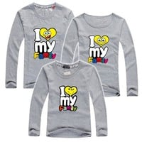 VONE2B5 My Family I Love T Shirts Summer Family Matching Clothes Father Mother Kids Children Outfits New Cotton Mother Daughter T Shirts