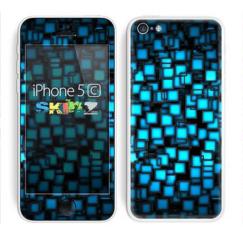 The Neon Blue Abstract Cubes Skin for the Apple iPhone 5c
