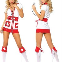 Sexy Flirty Nurse Halloween Costume 3pc White/Red Dress Small/Medium Adult Womens