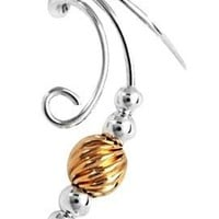 Sterling Silver Left Only Long Curly Q Gold Filled Twist Bead Ear Cuff Wrap