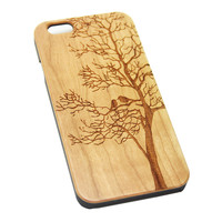 Loving Birds on Tree Wood EngravediPhone 6s Case iPhone 6 Case iPhone 6s 6 Plus Cover Natural Wooden iPhone 5s 5 Case Samsung Galaxy S6 S5 Case D103