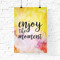 enjoy the moment digital printable | Pastel Spring Printable Wall Art | Inspirational Quote Instant Download | Home Decor | Wall Decor