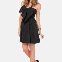 Reverse Winning Peek Strapless Black Dress