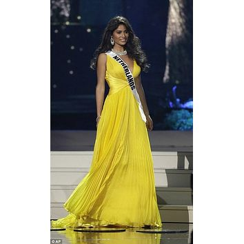 Paulina Vega Miss Universe 2015 Yellow Plunging Chiffon Dress Online