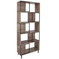 """Paterson Collection 29.75"""" x 72.25"""" Rustic Wood Grain Finish Bookshelf and Storage Cube"""