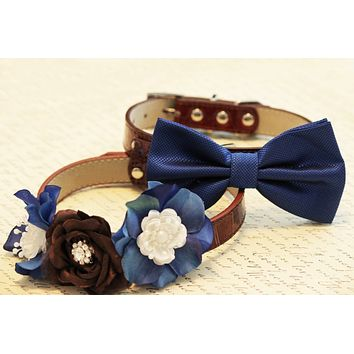Blue and Brown 2 Dog Collars, Floral and Bow tie Wedding dog accessory