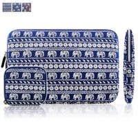 Kamor® 13 13.3 13.3'' 14 inch Apple MacBook Air MacBook Pro Canvas Fabric Laptop Sleeve with Macbook Charger Case Bohemian Style Animal World (Elephant Blue) Protective Carrying Sleeve Bag Case Cover Shell - Ultra portable Laptop Case Bag / Notebook Comput