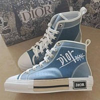 Dior CD embroidered denim inner high-rise lace-up high-top shoes Couple models Hip-hop sneakers Shoes