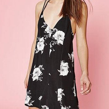 Black Floral Print V-Neck Cross Back Mini Dress
