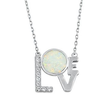 SALE  Natural White or Blue Opal Love Pendant Necklace