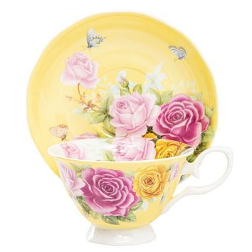 The Most Beautiful Yellow Roses Fine Bone China Teacup and Saucer
