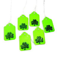 Green Gift Tag with Glitter Shamrock Detail, Set of 6