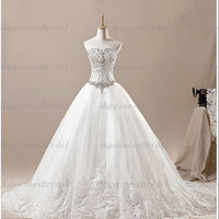 New Arrival Ball gown Sweetheart Chapel Train Tulle Applique Beading Long Wedding Dresses Prom Dresses Formal Dresses Evening Dresses 2014