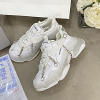 Balenciaga BB fashion men and women retro cool chain element style old shoes