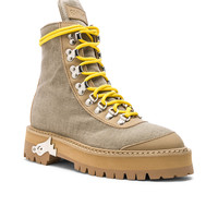 OFF-WHITE Canvas Hiking Boots in Sand | FWRD