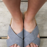 Galveston Bay Gray Two Strap Cork Slip On Sandals