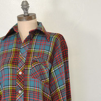 25% OFF SALE Vintage Flannel • Plaid Flannel Button Up • Outdoor Rugged Flannel • Women's Comfy Flannel • Men's Flannel Shirt • Red + Green