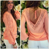 Berwick Salmon Lace Open Back Top