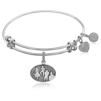 Expandable Bangle in White Tone Brass with Wizard of Oz Group Silhouette Symbol