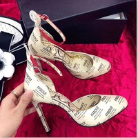 Gucci Lady's Fashion Print High Heel Sandals Shoes