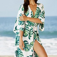 Leave Sexy Bikini Pareo Cover Ups New Beach Tunic Sarong Cover Up Bathing Suit White Robe De Plage Swimsuit Women Cover-ups