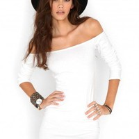 Missguided - Rorry Long Sleeve Bardot Mini Dress In White