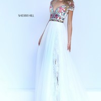 Sherri Hill 50151 Ivory Multi Lace Embroidered Gown