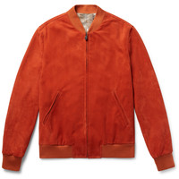 Richard James - Slim-Fit Suede Bomber Jacket