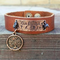 Saddle Leather Brown Cuff Bracelet Copper Hand Stamped - ONE DAY AT A TIME with Tree of Life Charm