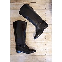 Vintage Ink Black  Leather Riding Boots | 7.5