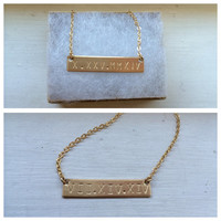 Gold bar necklace, personalized, Kardashian bar, name plate, bridesmaid gift, metal stamp, Roman numerals, initials, anniversary, hashtag