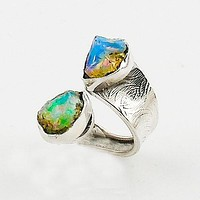 Ethiopian Opal Rough Adjustable Sterling Silver Wrap Ring