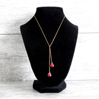 Ruby Red Quartz Drop Necklace - Lariat Necklace Briolette Gold Filled Chain