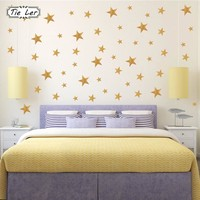 117PCS/3Set Gold Stars Pattern Vinyl Wall Art Decals Nursery Room Decoration Wall Stickers for Kids Rooms Home Decor