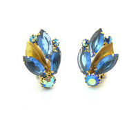Weiss Rhinestone & Metal Leaf Earrings. Indigo Blue Navettes, Capri Aurora Borealis. Clusters, Gold Tone Clips Vintage 1950s Fashion Jewelry