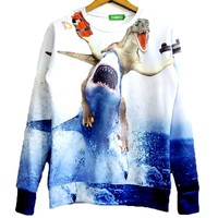 Velociraptor Riding A Shark Holding Dynamite and Gun Graphic Print Sweater