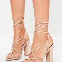 Missguided - Nude Multi Strap Sandals