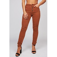 Cecily High Waisted Corduroy Pants (Camel)