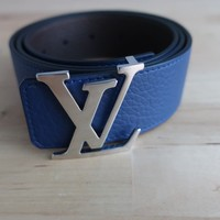 "Louis Vuitton Reversible Belt Leather Blue/Brown BRAND NEW 34""-36"" 95 RRP £490"