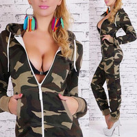 FASHION CAMOUFLAGE LONG-SLEEVED JUMPSUITS