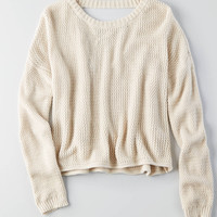 Don't Ask Why V-Neck Crop Sweater, Natural