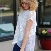 Floral + Lace Layered Top {Ivory}