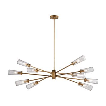 Xenia 10-Light Chandelier in Matte Gold with Seedy Glass