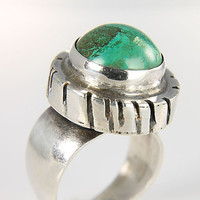 Sterling silver Eilat stone Ring, Modernist size 7 Ring, Israel tall middle finger ring