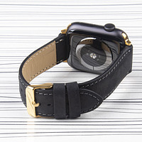 """Apple Watch Band """"Crazy Horse"""" Leather Black"""