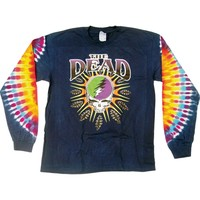 Grateful Dead Men's  Steal Your Lightning Tie Dye  Long Sleeve Multi