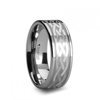 HELIOS Flat Dual Offset Grooved Tungsten Ring with Celtic Design