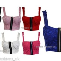 Ladies Womens Sexy Party Floral Lace Front Zip Padded Strap Bralet Crop Top 8-14