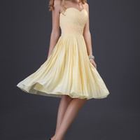 Yellow Off Shoulder Pleated Homecoming Dress
