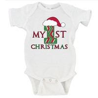 My First Christmas Santa Hat Merry Christmas Gerber Onesuit ®